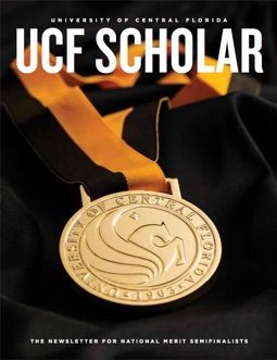 cover of ucf scholar magazine, black background with round gold medal laying on top, UCF SCHOLAR in all caps and white font written at top of cover