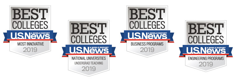 Four U.S. News and World Report ranking badges for innovation, undergrad teaching, business programs and engineering programs in 2019.