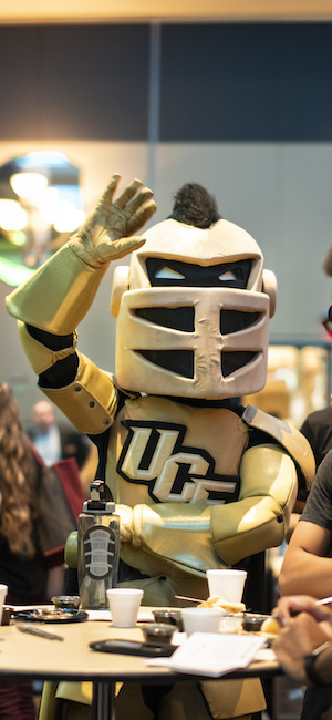 knightro waving at camera