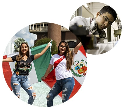 2 round images: larger image is 2 female students in front of reflecting pond holding mexican flags; smaller image is of a male student working in a laboratory
