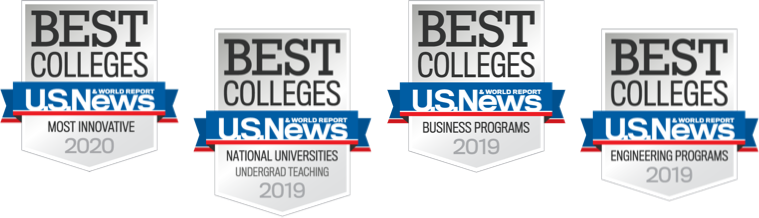 Four U.S. News and World Report ranking badges for innovation, undergrad teaching, business programs and engineering programs in 2019