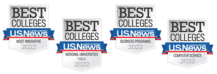 U.S. News and World Report award badges for best colleges and universities in 2022
