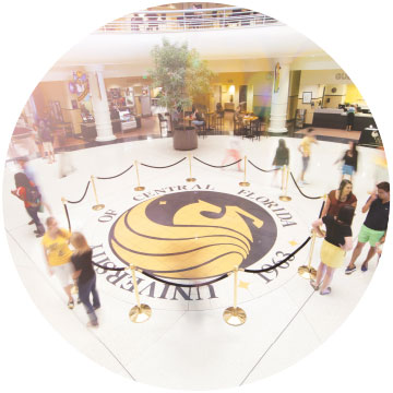 pegasus logo in ucf student union