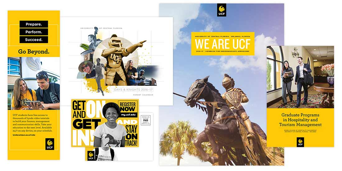 collage of ucf print materials