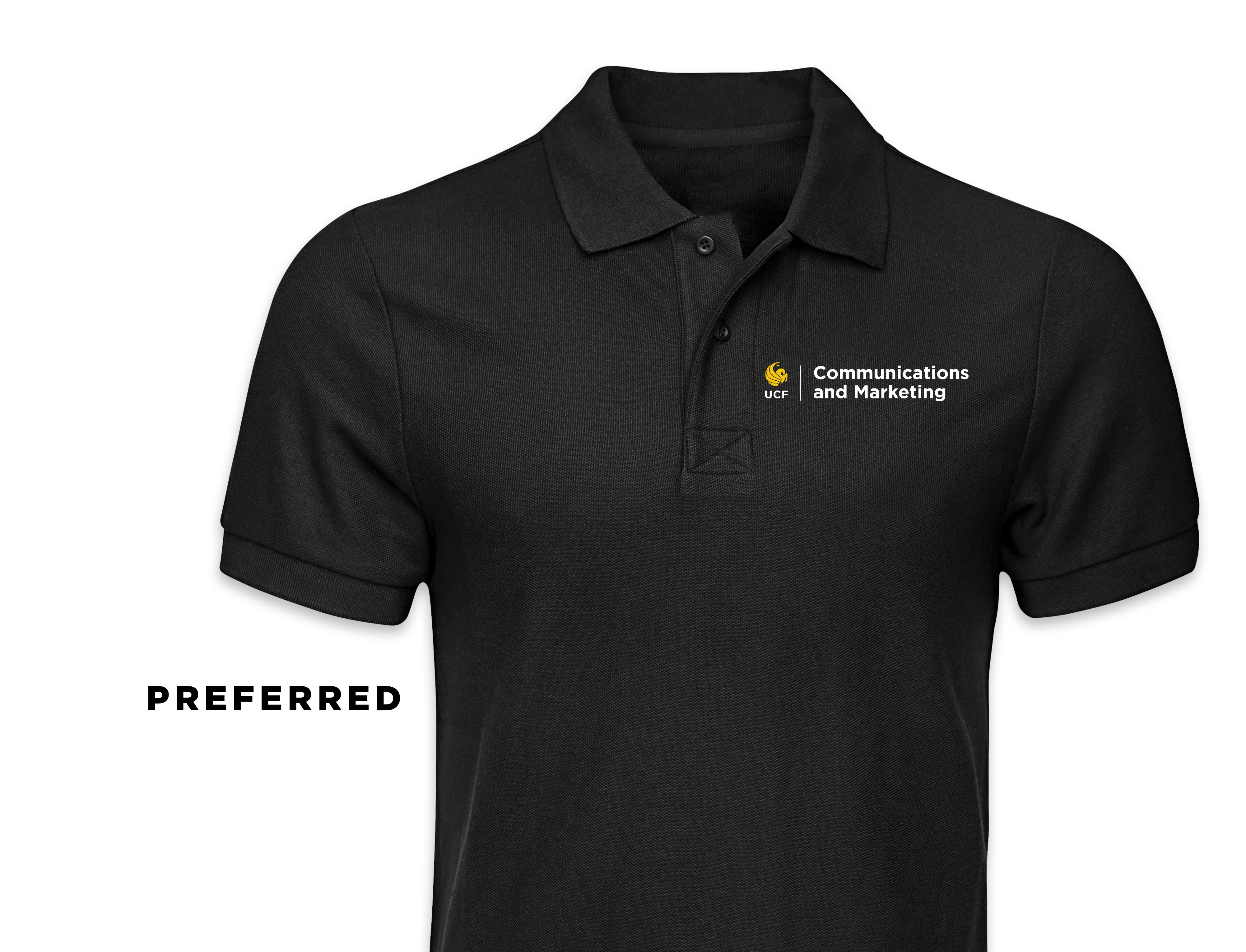 The preferred polo shirt design uses your Unit Identity Lockup to the left of the buttons.
