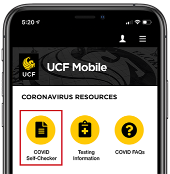 example of COVID Self-Checker button on the UCF Mobile app
