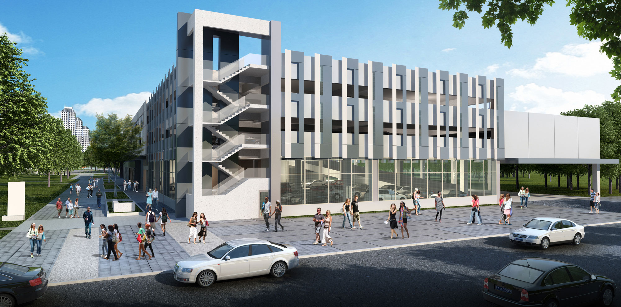 The UCF Downtown parking garage is four-stories and has 580 spaces.