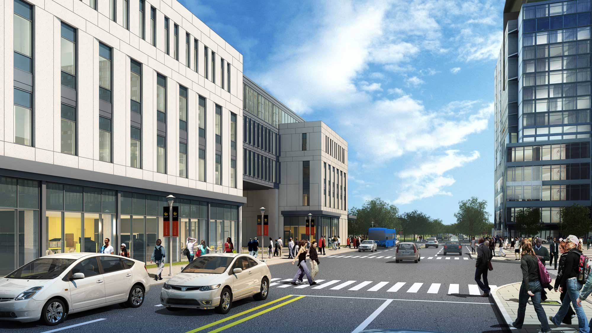 rendering of downtown ucf dr phillips academic commons and student housing