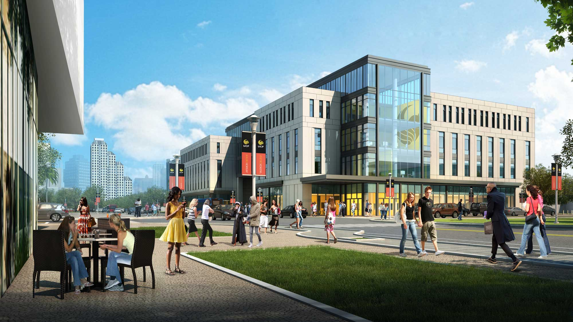 rendering of downtown ucf dr phillips academic commons with downtown