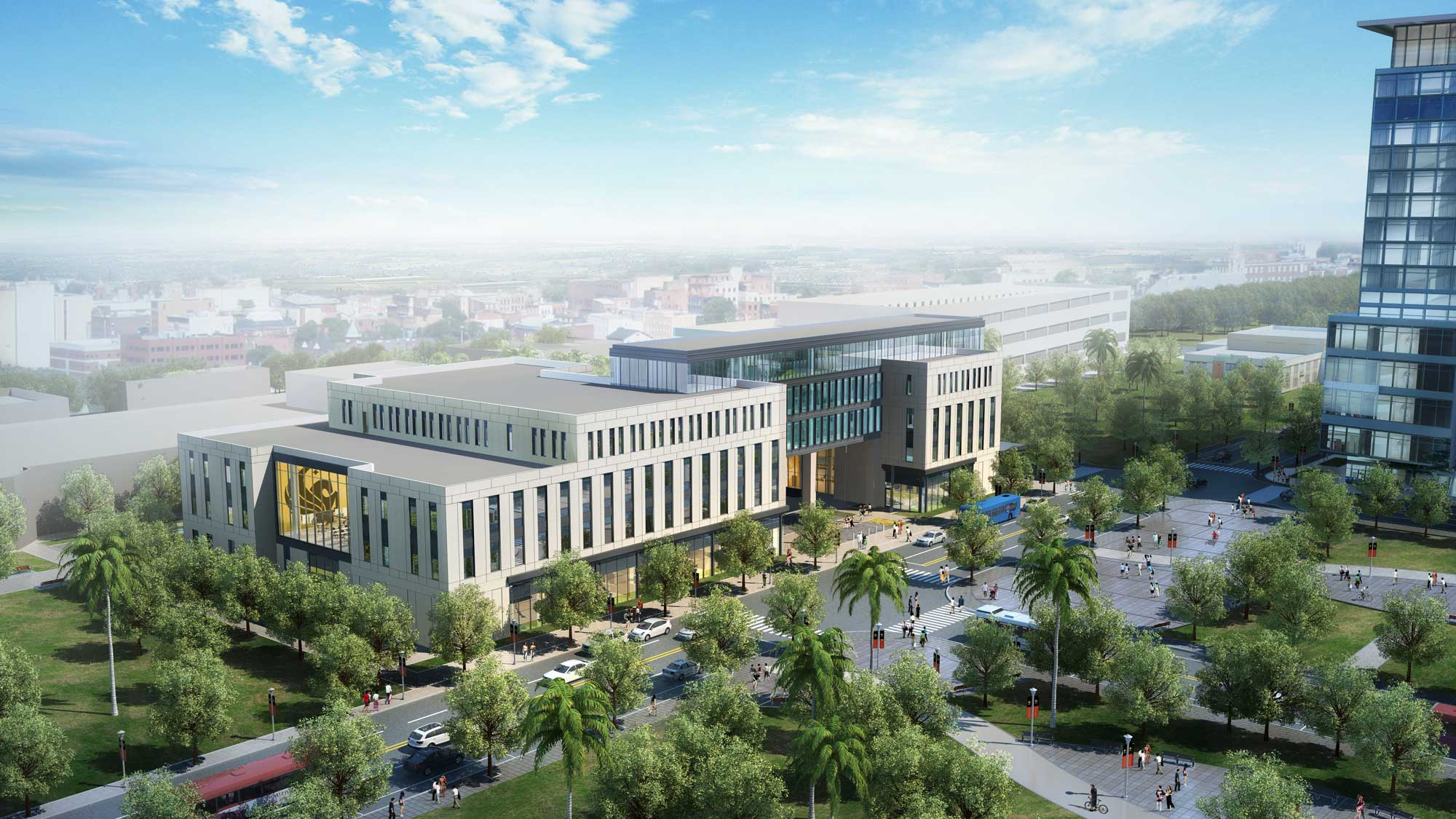 rendering of downtown ucf dr phillips academic commons with parramore
