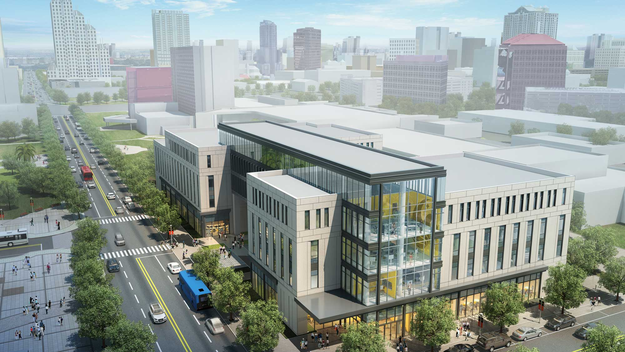 rendering of downtown ucf dr phillips academic commons and student housing with skyline