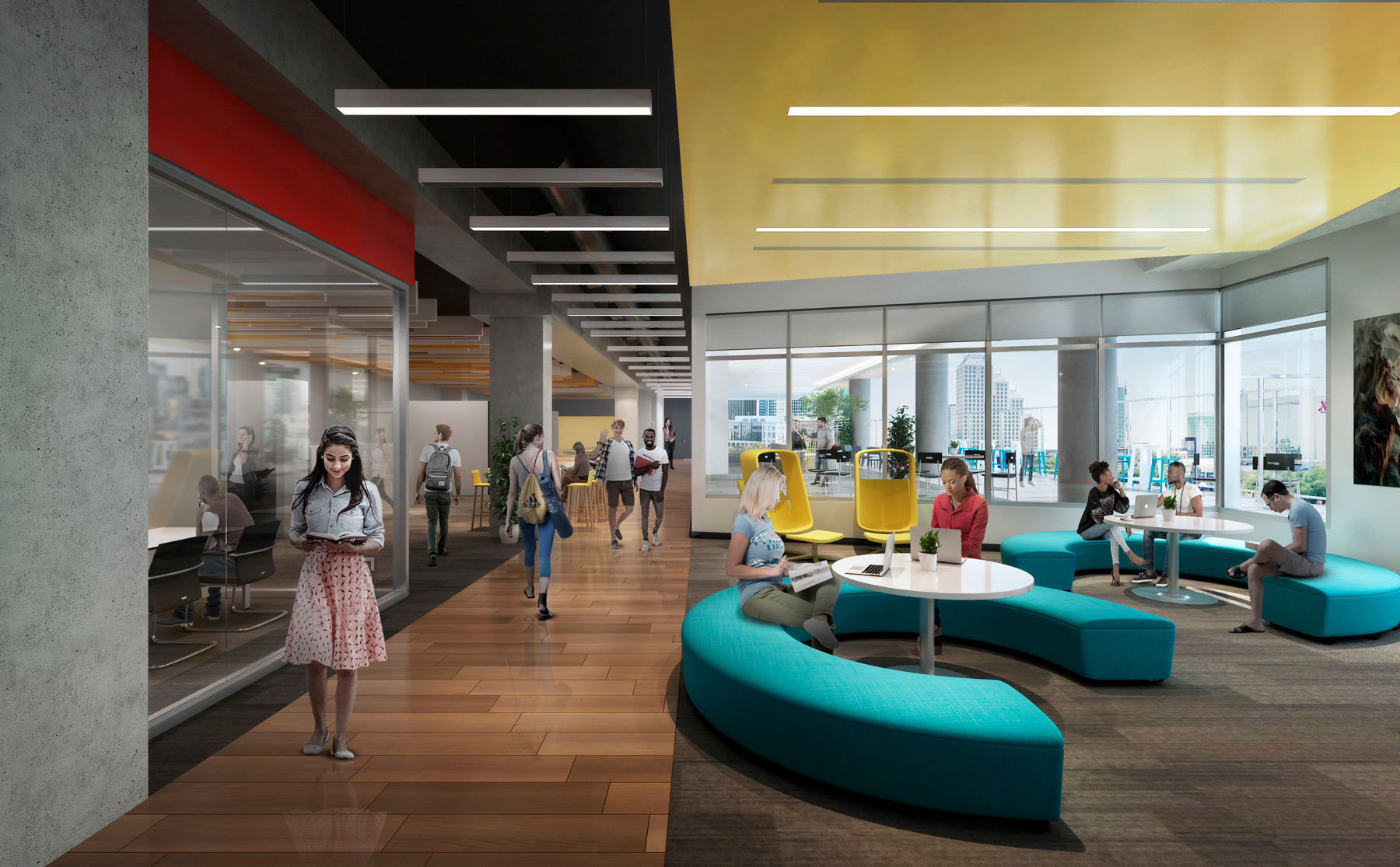 The Collaborative also features space for individual or group studying with views of downtown Orlando and Creative Village Central Park.