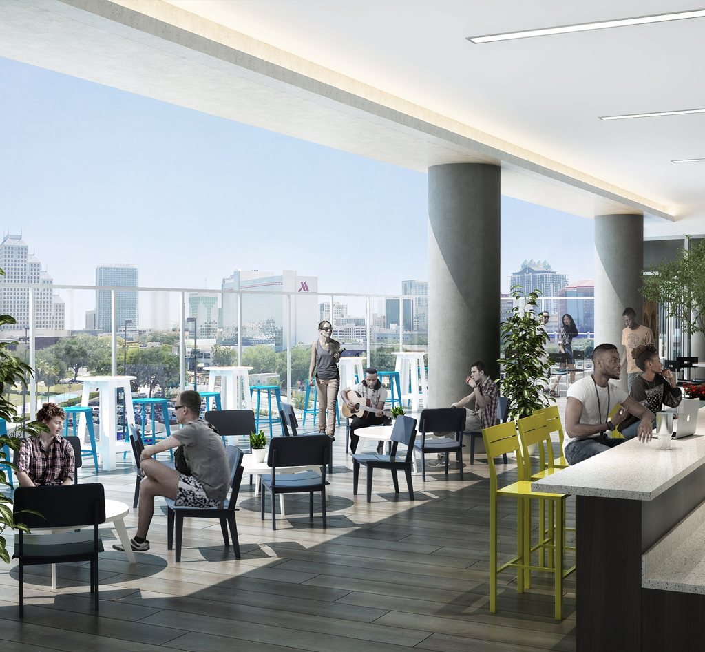 The Collaborative, located on the 6th floor, includes an outdoor patio overlooking downtown Orlando and Creative Village Central Park.
