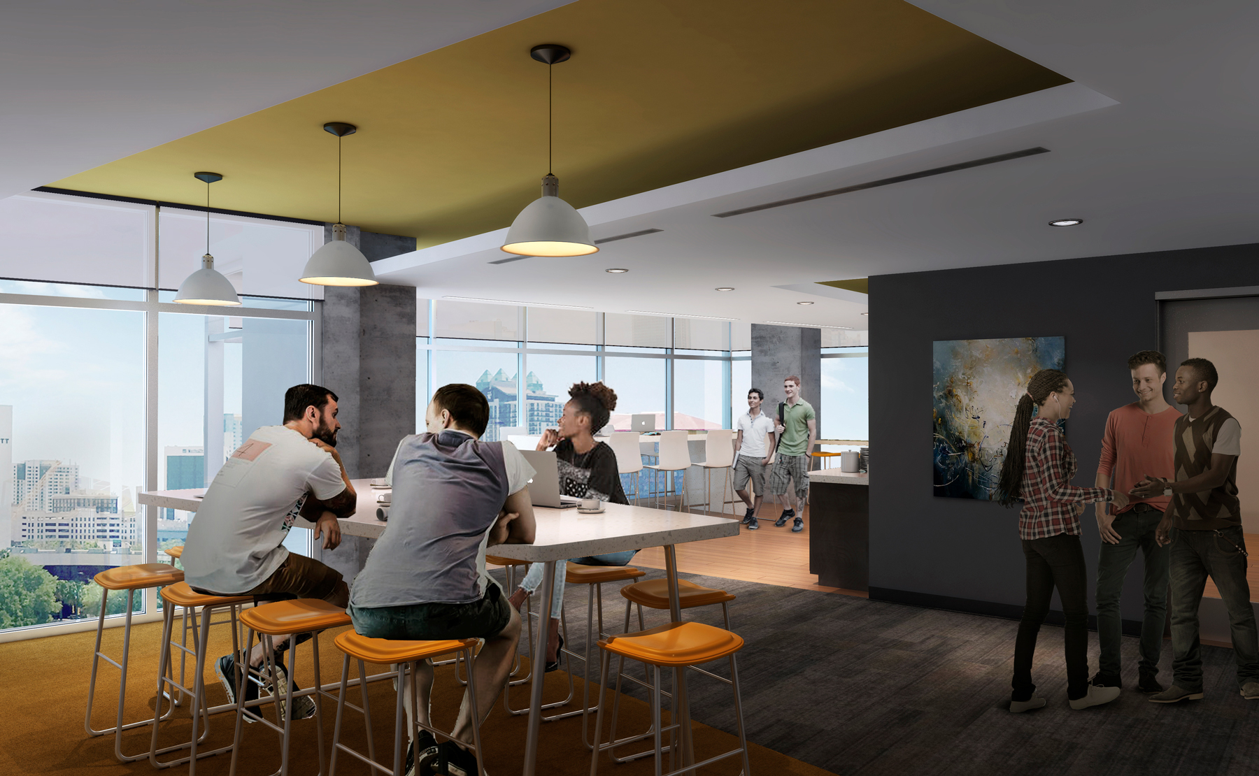 Each floor of the residences also features a resident-only club room with lounges, a coffee bar and space for community activities.