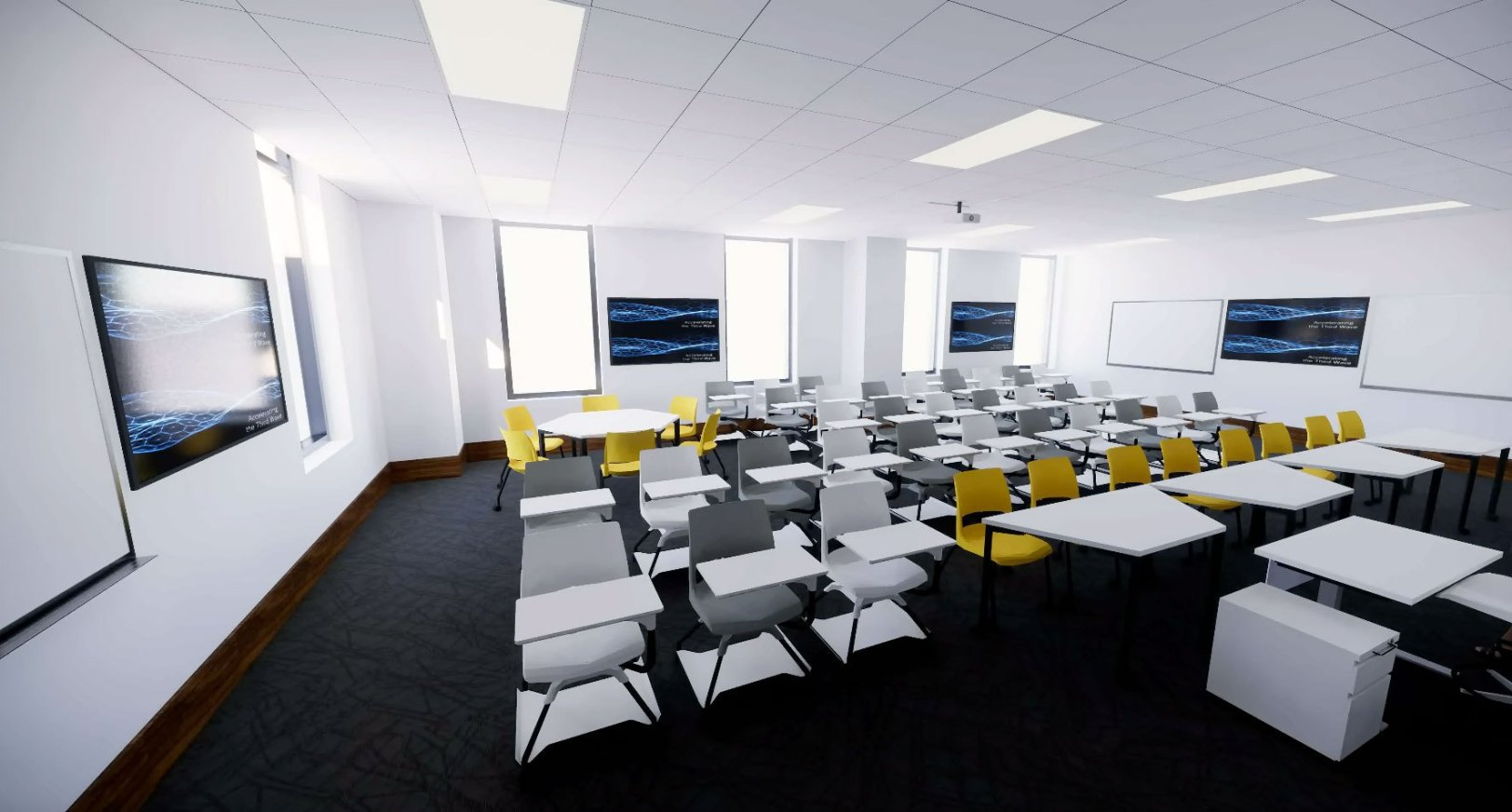 There will be multiple whiteboards throughout the room.