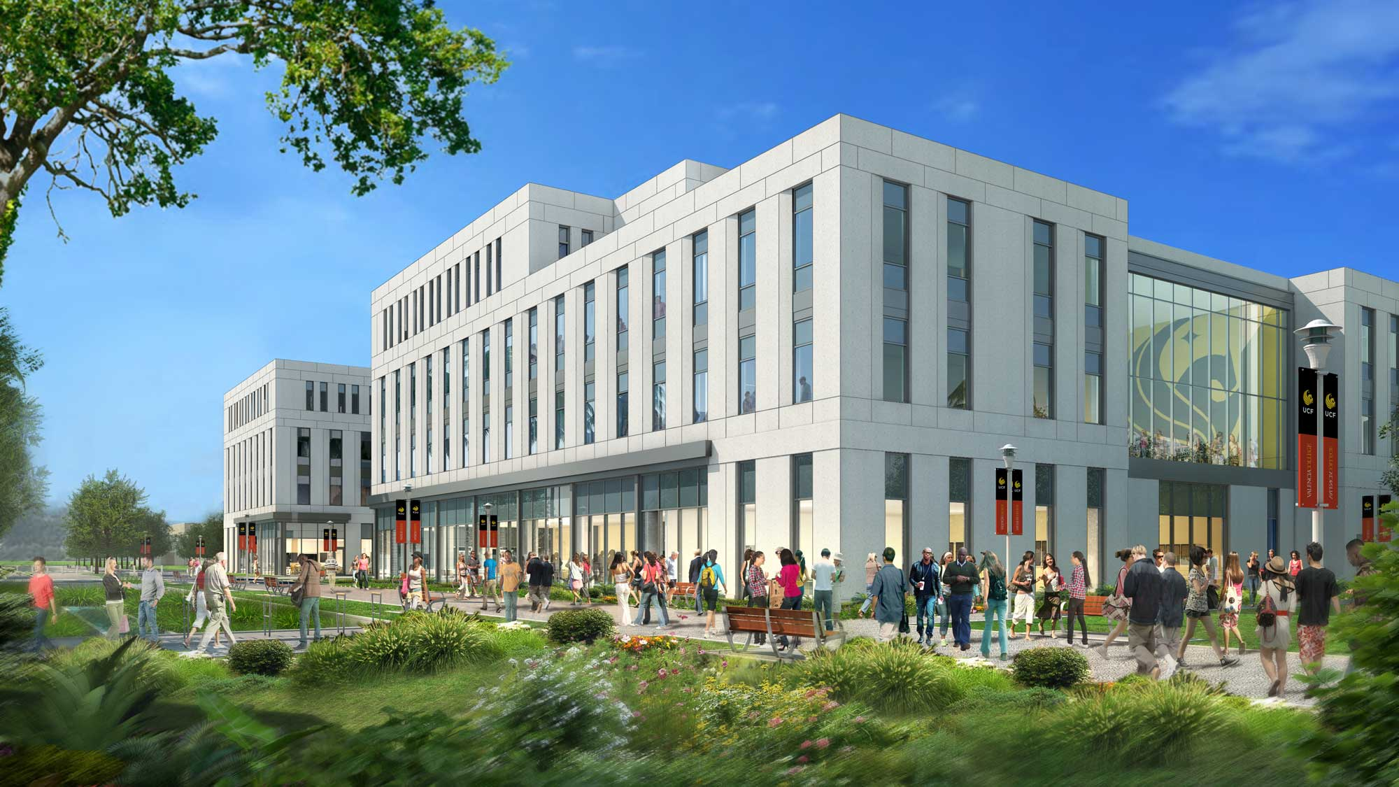 rendering of downtown ucf dr phillips academic commons courtyard