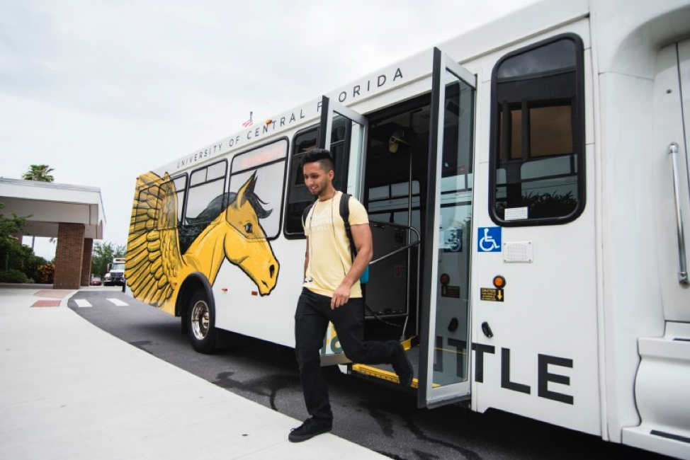 UCF Downtown student getting off of the express shuttle