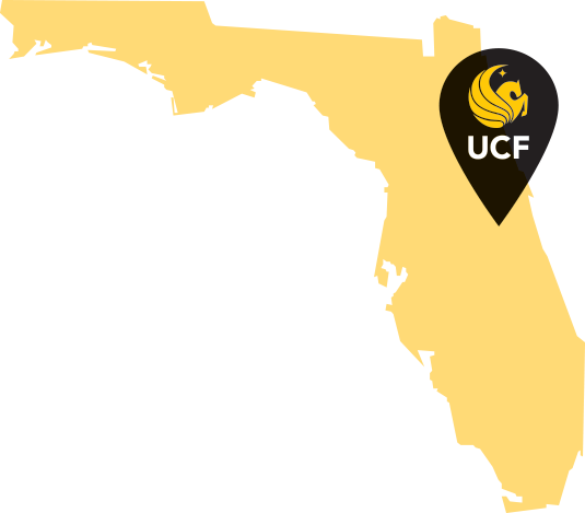 Image of Florida with marker where UCF is located