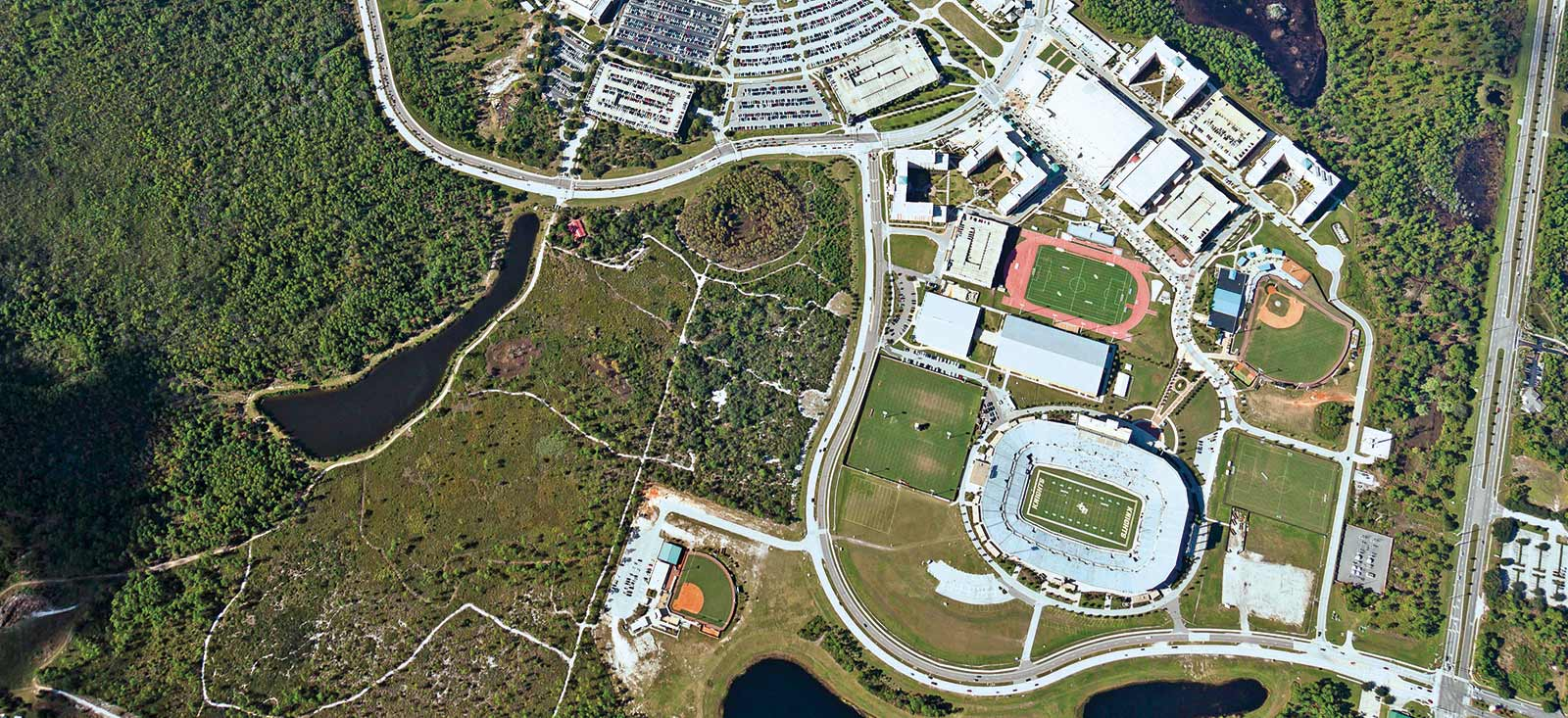aerial view of north end of ucf campus, focusing on football arena