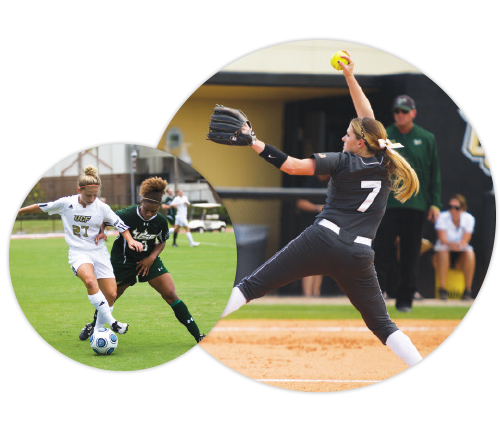 2 images cropped into circles; left image: 2 female soccer players, right: female softball pitcher