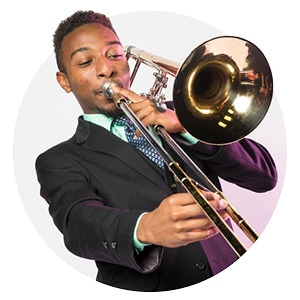 Male student playing trombone