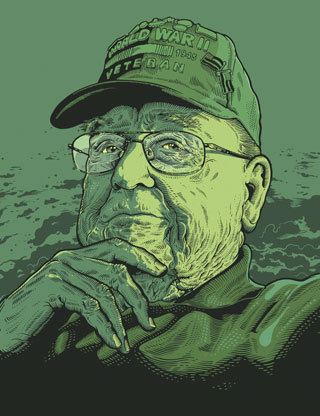 illustration with green overlay of older man wearing glasses, world war 2 veteran hat, touching chin with his hand