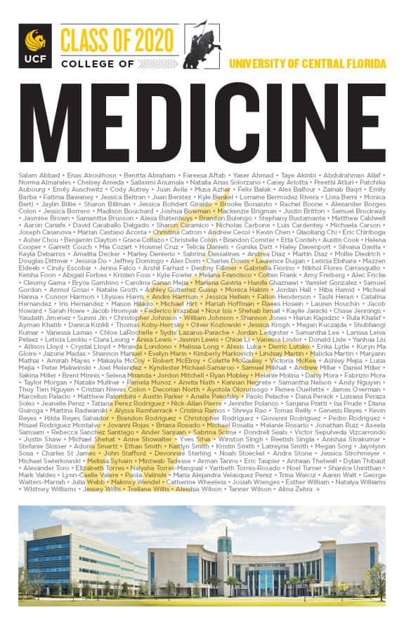 ucf college of medicine class of 2020 poster