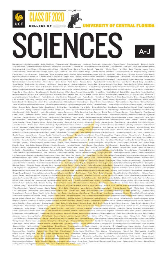 ucf college of sciences class of 2020 poster