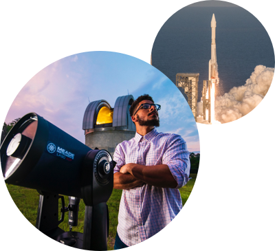 two circular images - ucf student at robinson observatory-rocket launch