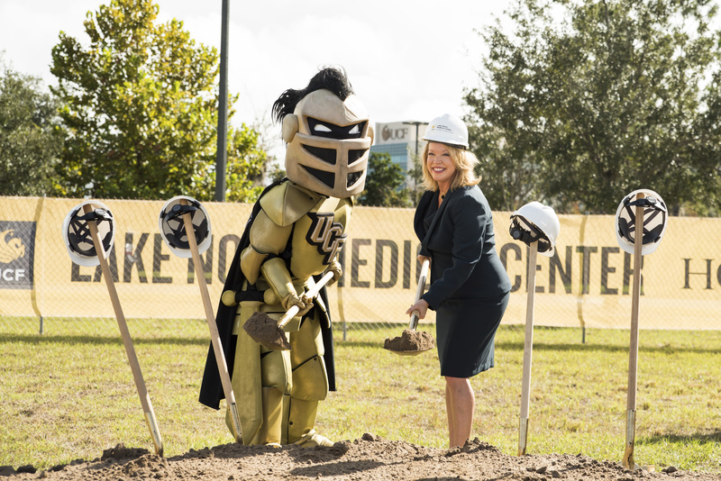 knightro and CEO of the UCF Lake Nona Medical Center during the groundbreaking ceremony