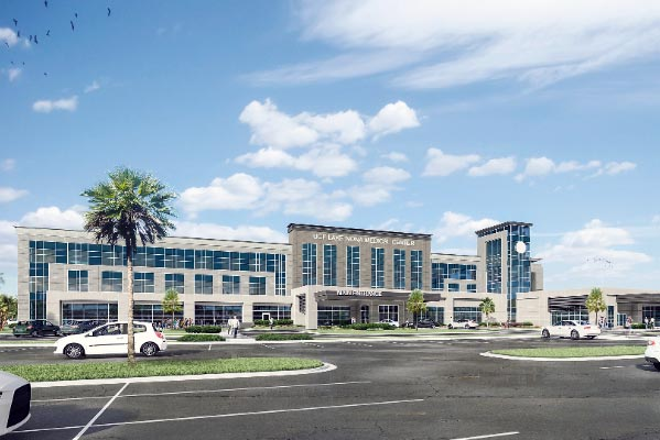 Rendering of the hospital building at the Lake Nona Medical Center