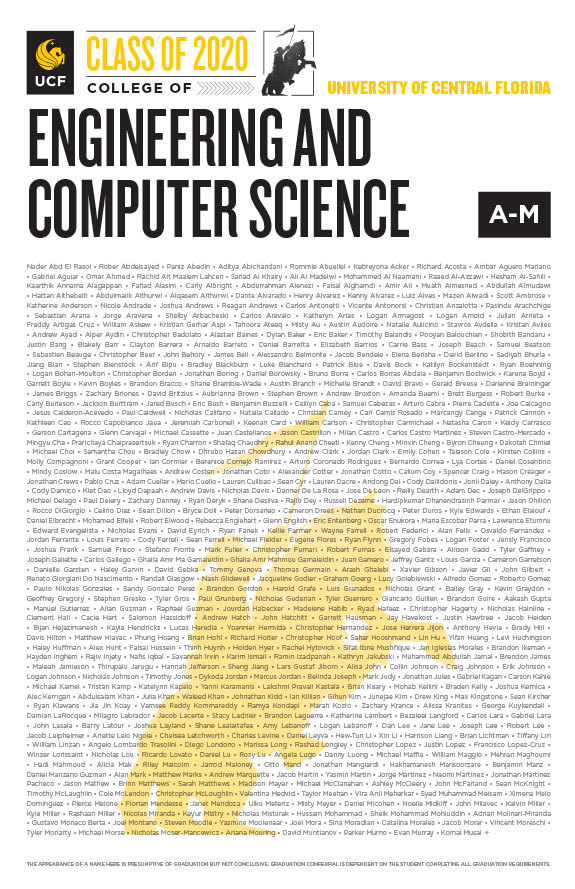 ucf college of engineering and computer science class of 2020 poster