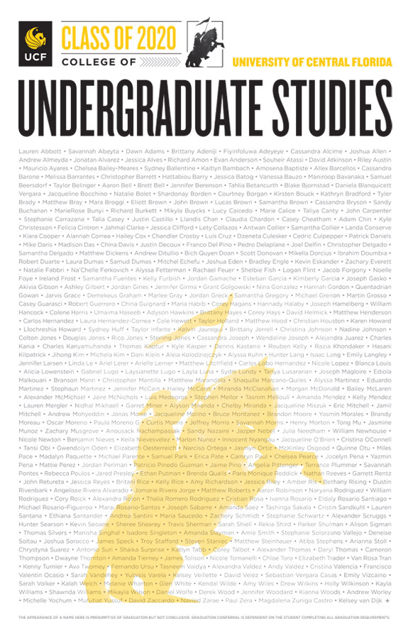 ucf college of undergraduate studies class of 2020 poster