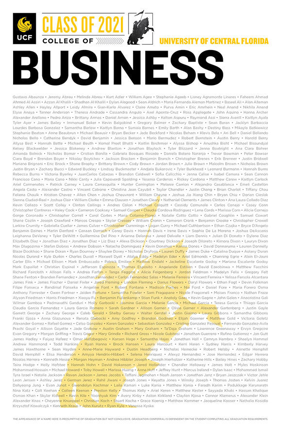 ucf college of business class of 2020 poster