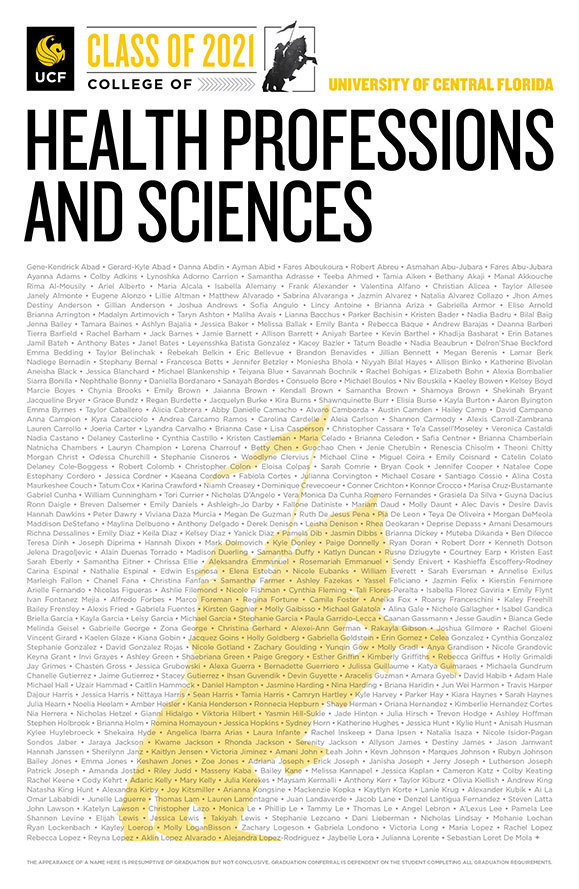 ucf college of health professions and sciences class of 2020 poster