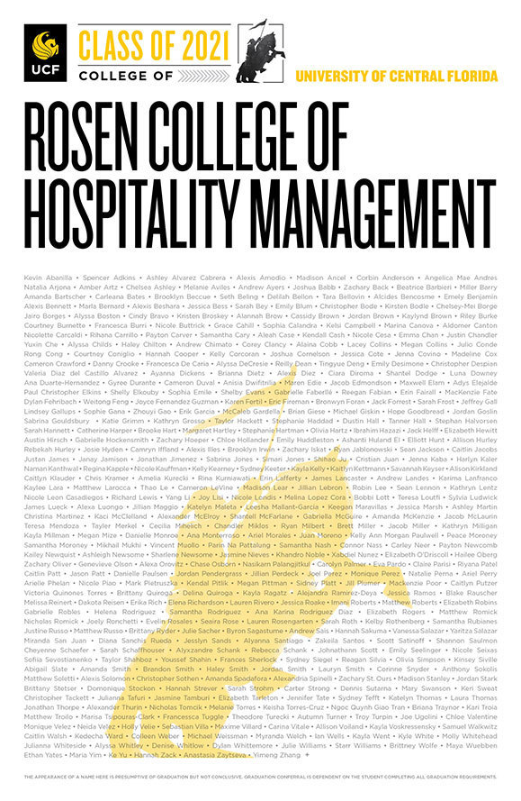 ucf rosen college of hospitality class of 2020 poster