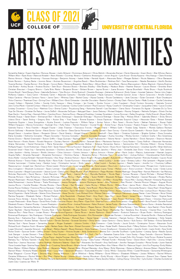ucf college of arts and humanities class of 2020 poster