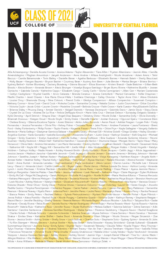 ucf college of nursing class of 2020 poster