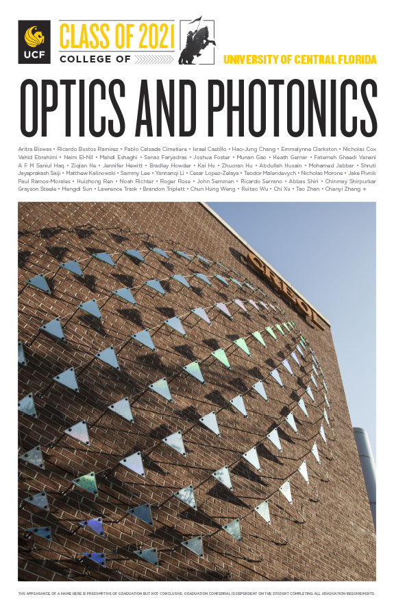 ucf college of optics and photonics class of 2020 poster