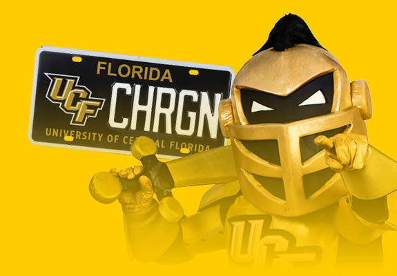 Knightro and UCF license plate