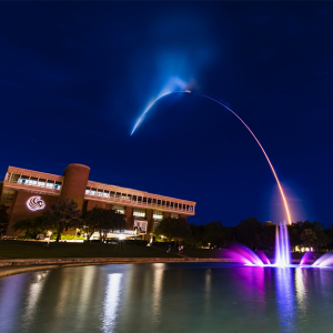 SpaceX Inspiration4 rocket launch over the UCF fountain and library