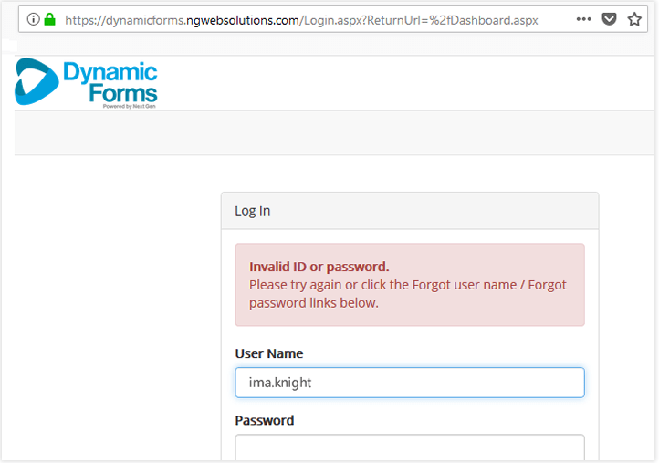 screenshot of dynamic forms login page with invalid password error
