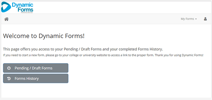 screenshot of dynamic forms dashboard