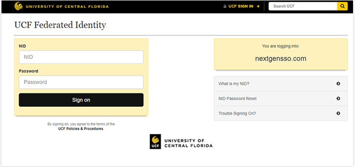 screenshot of myucf login page