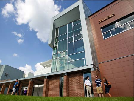 The first phase of the Performing Arts Center opened in the fall with classroom and studio spaces for Music and Theatre students.