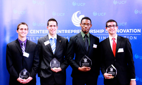 Photo (L to R): Cameron Jessee, fourth place; Michael Irene, third place; Fernando Romney, first place; and Ricardo Vasquez, second place.