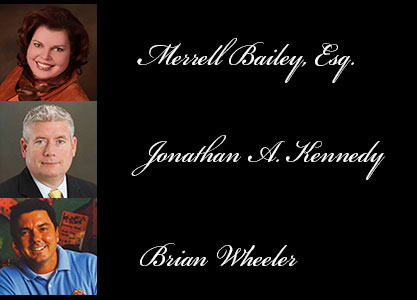 Merrell Bailey, Esq., Jonathan A. Kennedy, and Brian Wheeler, inductees for the 14th Annual College of Business Administration Hall of Fame.