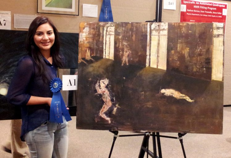 """UCF art student Jordan Guzman's """"Nothing Going on Here, Or So It Seems"""" won first place in the Connecting Worlds art category at the recent 2012 Quadrennial Physics Congress. Her work will also be exhibited in the campus STEAM exhibition Nov. 15."""