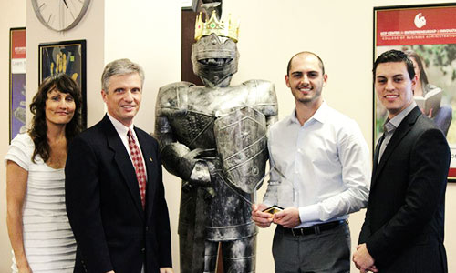 Photo: Spring 2013 Business Model Competition. First place winner Tyler Salem is second from right.