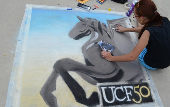 Sidewalk Chalk Art Celebrates UCF's 50th Anniversary